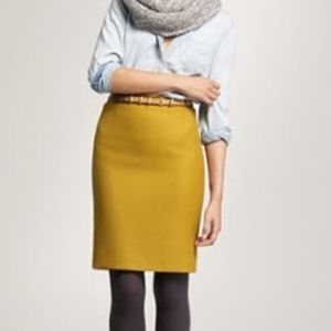 J crew mustard yellow 100% wool Skirt